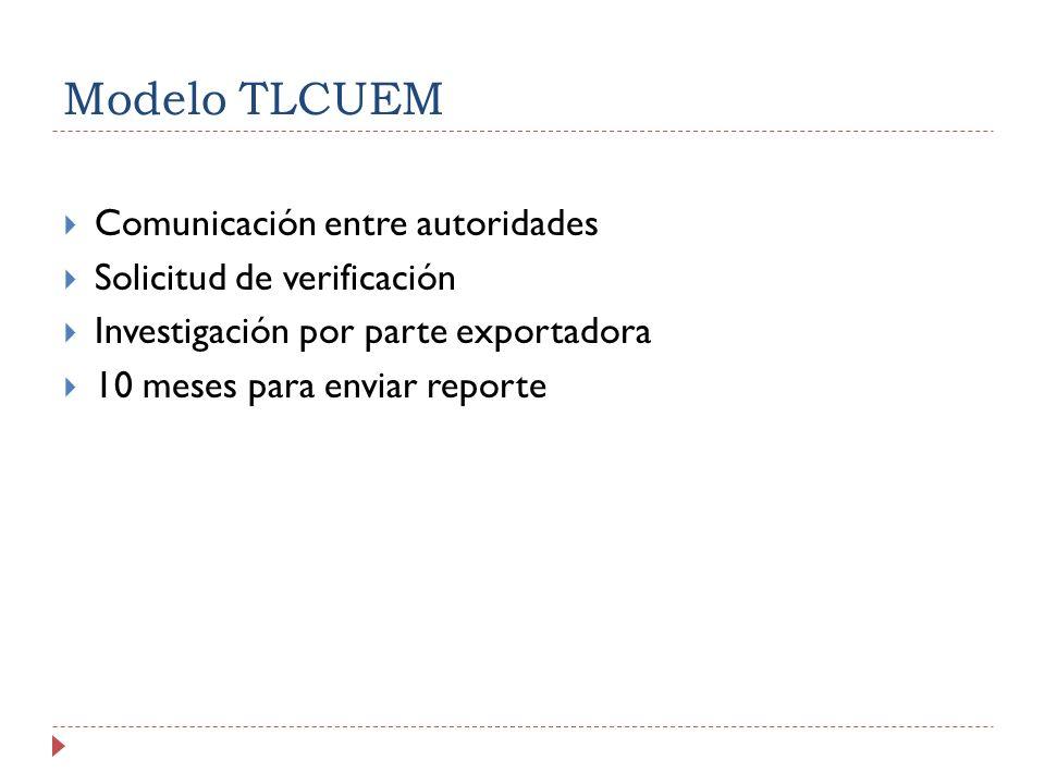 Modelo TLCUEM Comunicación entre autoridades Solicitud de verificación