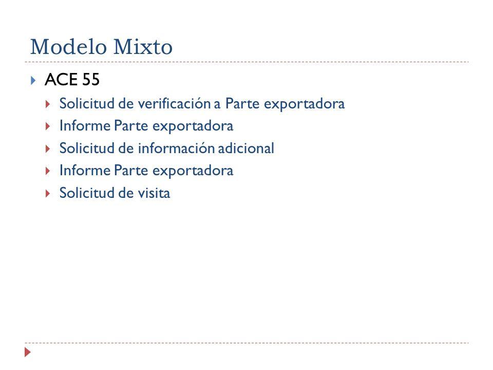 Modelo Mixto ACE 55 Solicitud de verificación a Parte exportadora