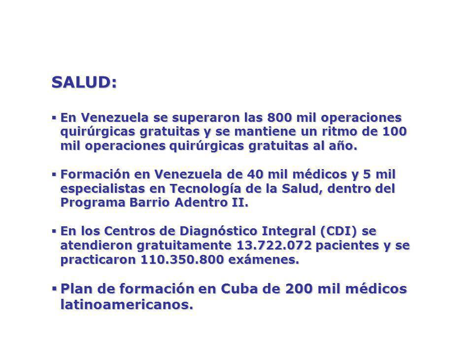 SALUD: Plan de formación en Cuba de 200 mil médicos latinoamericanos.