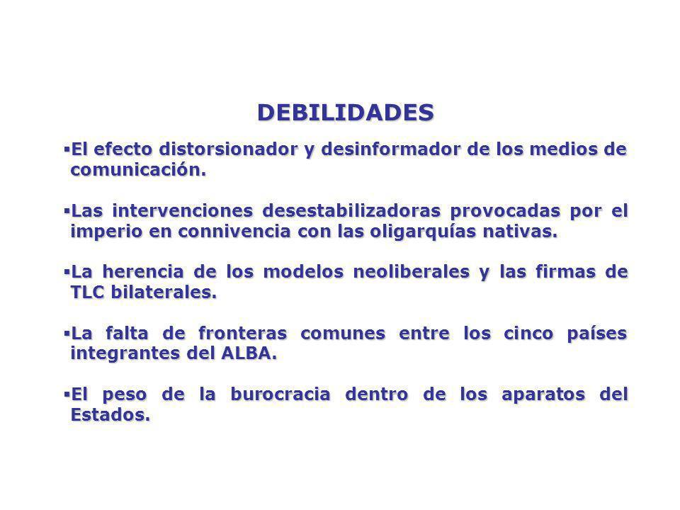 DEBILIDADES El efecto distorsionador y desinformador de los medios de comunicación.
