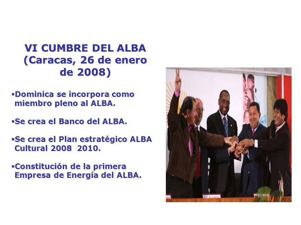 VI CUMBRE DEL ALBA (Caracas, 26 de enero de 2008)