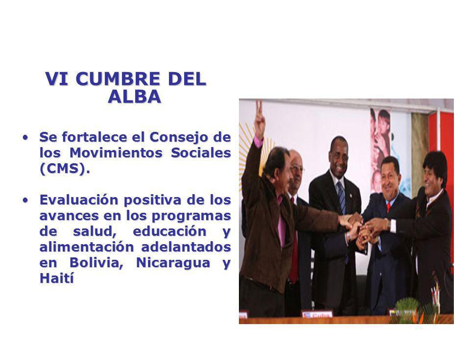 VI CUMBRE DEL ALBA Se fortalece el Consejo de los Movimientos Sociales (CMS).