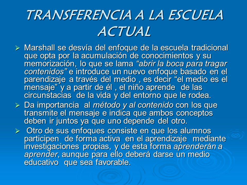 TRANSFERENCIA A LA ESCUELA ACTUAL