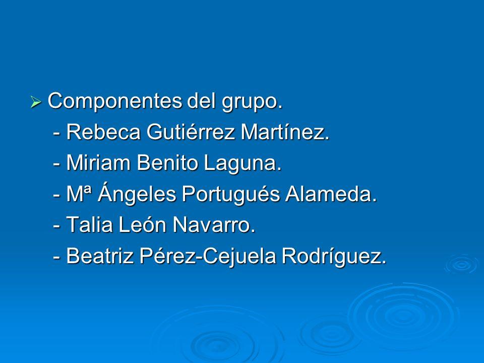 Componentes del grupo. - Rebeca Gutiérrez Martínez. - Miriam Benito Laguna. - Mª Ángeles Portugués Alameda.