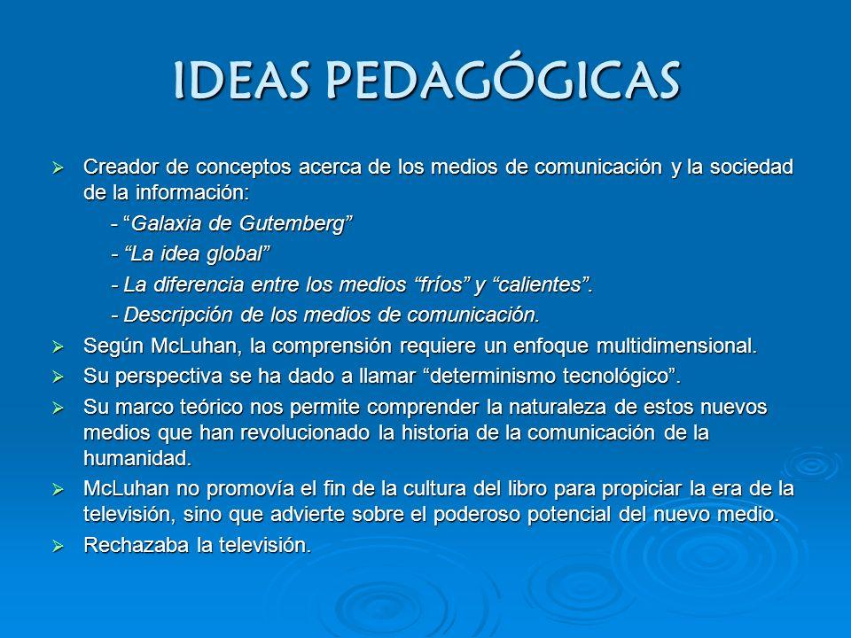 IDEAS PEDAGÓGICAS Creador de conceptos acerca de los medios de comunicación y la sociedad de la información: