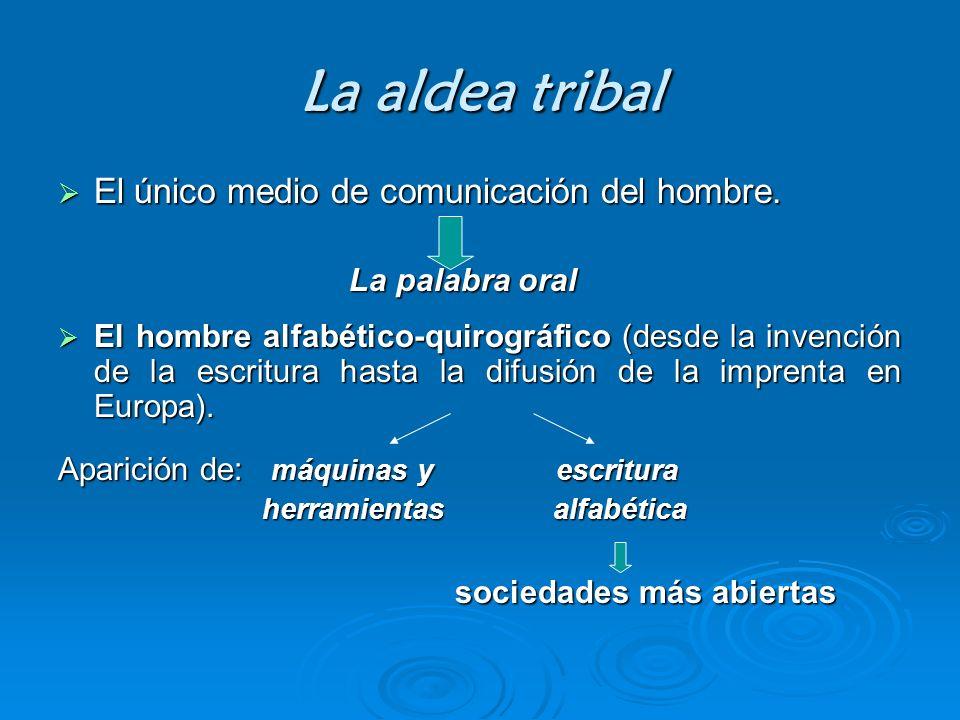 La aldea tribal El único medio de comunicación del hombre.