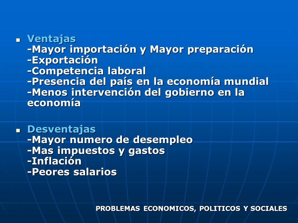 Ventajas -Mayor importación y Mayor preparación -Exportación -Competencia laboral -Presencia del país en la economía mundial -Menos intervención del gobierno en la economía