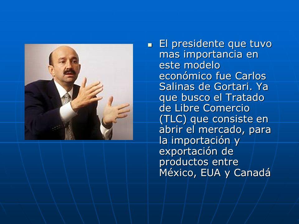 El presidente que tuvo mas importancia en este modelo económico fue Carlos Salinas de Gortari.