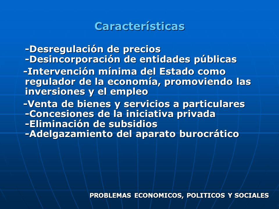 Características -Desregulación de precios -Desincorporación de entidades públicas.