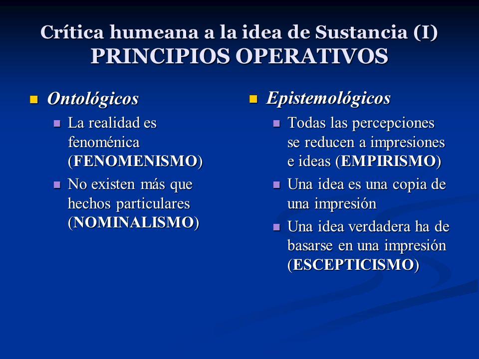 Crítica humeana a la idea de Sustancia (I) PRINCIPIOS OPERATIVOS