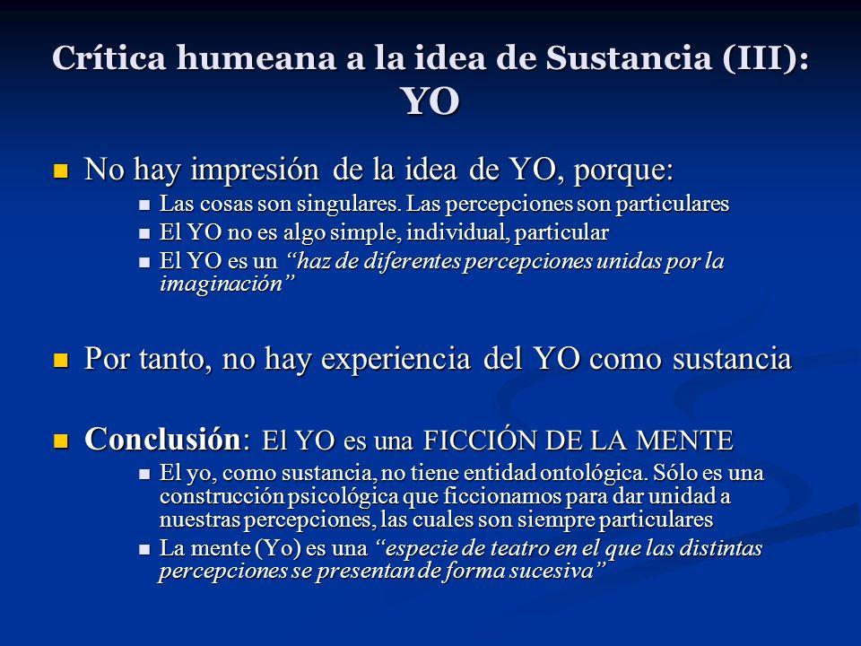 Crítica humeana a la idea de Sustancia (III): YO