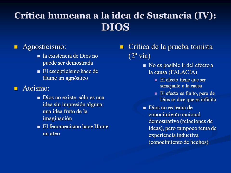 Crítica humeana a la idea de Sustancia (IV): DIOS