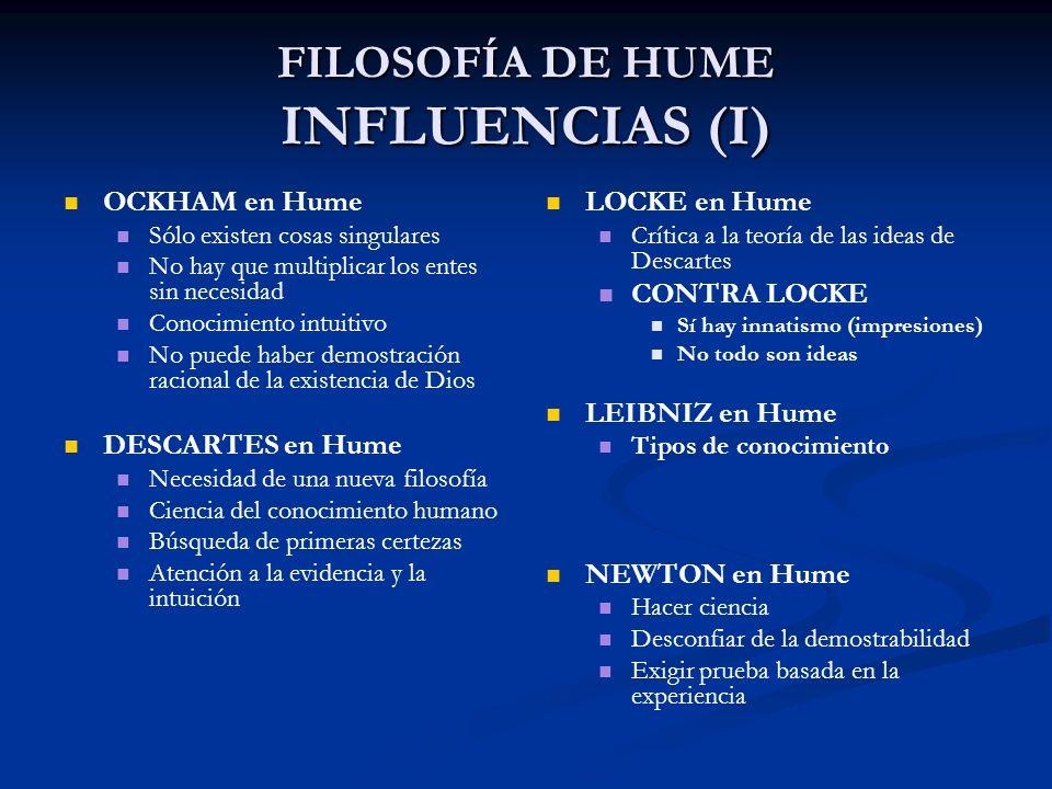 FILOSOFÍA DE HUME INFLUENCIAS (I)