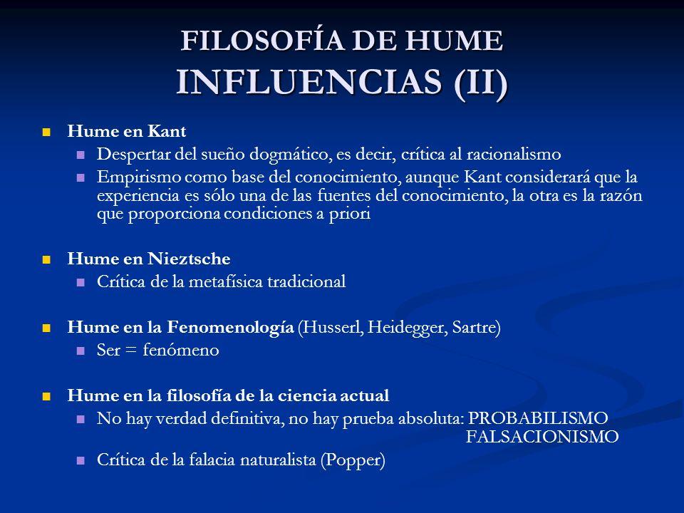FILOSOFÍA DE HUME INFLUENCIAS (II)