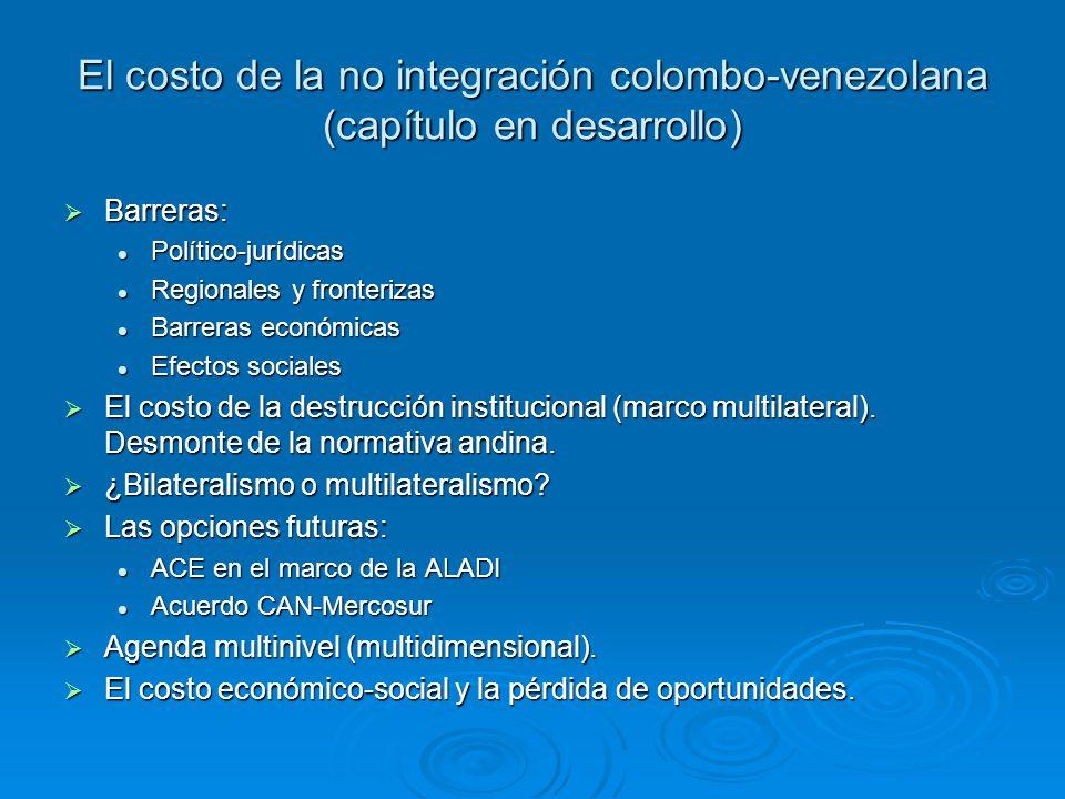 El costo de la no integración colombo-venezolana (capítulo en desarrollo)