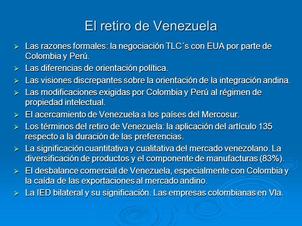 El retiro de Venezuela Las razones formales: la negociación TLC´s con EUA por parte de Colombia y Perú.