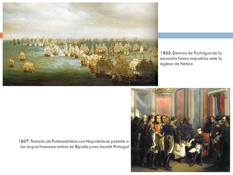1805. Derrota de Trafalgar de la escuadra franco-española ante la inglesa de Nelson