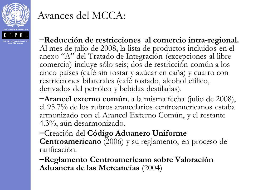 Avances del MCCA: