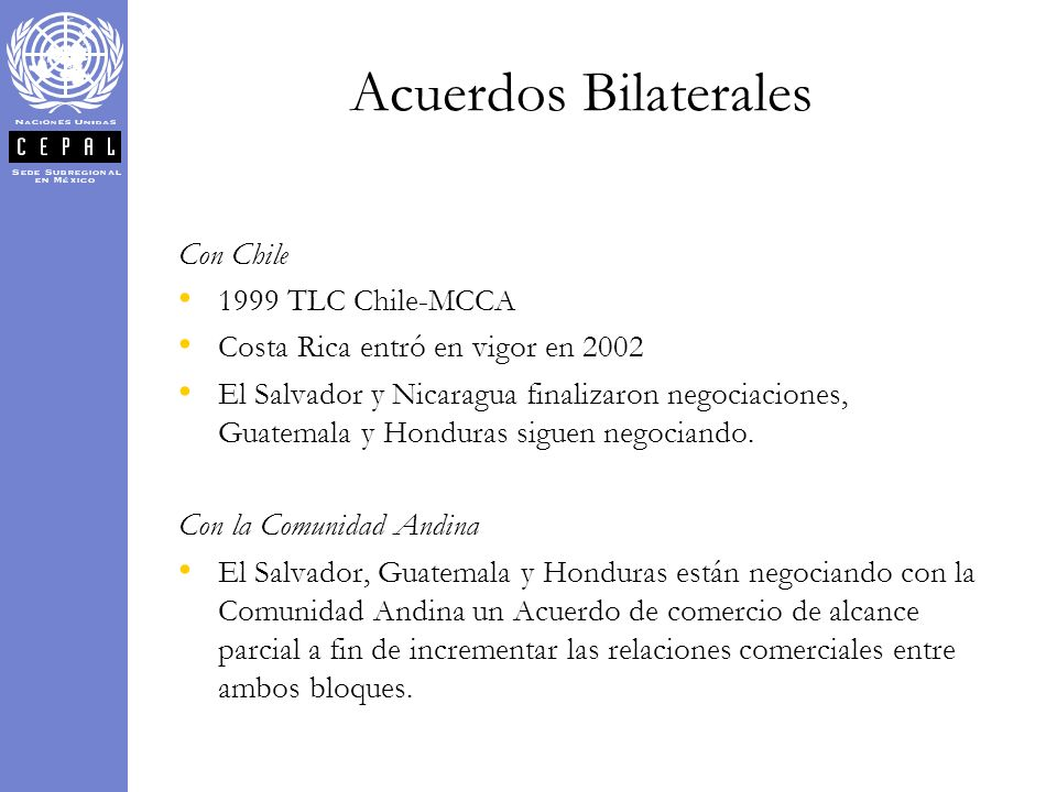 Acuerdos Bilaterales Con Chile 1999 TLC Chile-MCCA