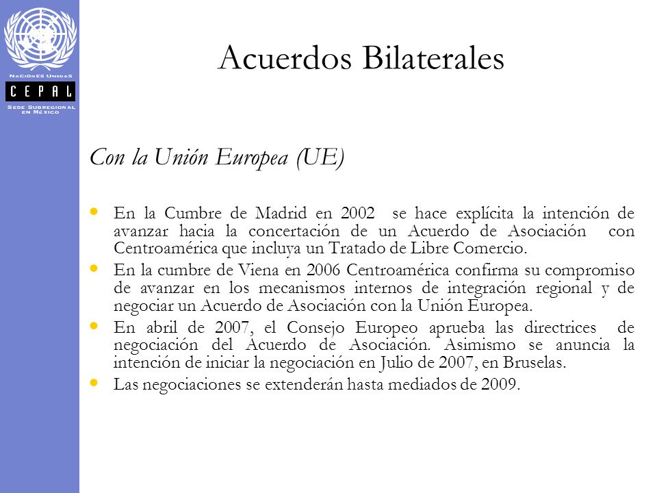 Acuerdos Bilaterales Con la Unión Europea (UE)