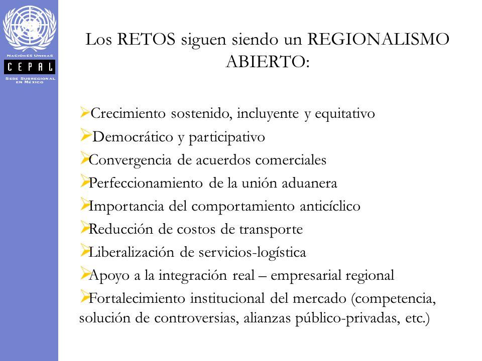 Los RETOS siguen siendo un REGIONALISMO ABIERTO: