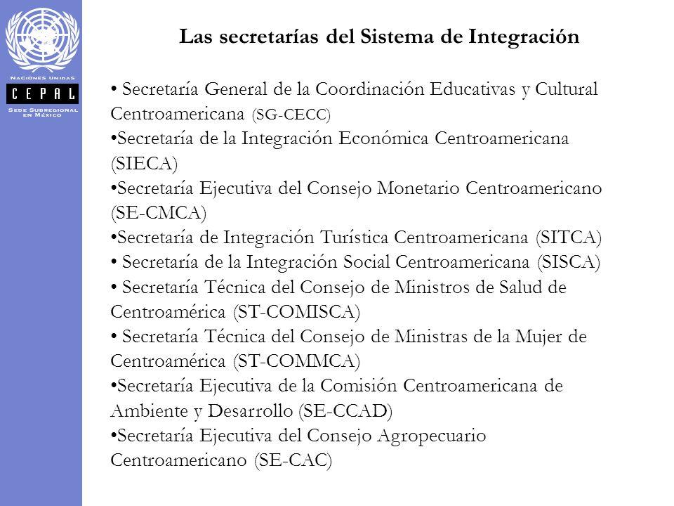 Las secretarías del Sistema de Integración