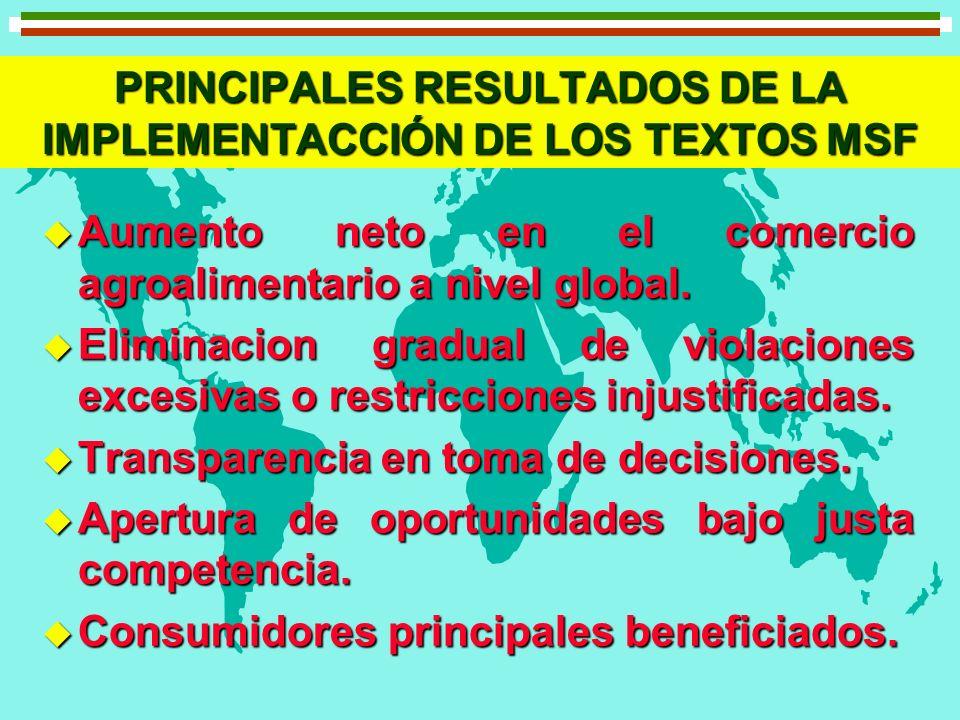 PRINCIPALES RESULTADOS DE LA IMPLEMENTACCIÓN DE LOS TEXTOS MSF