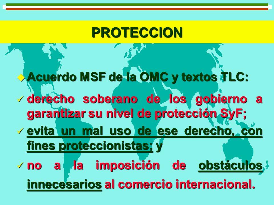 PROTECCION Acuerdo MSF de la OMC y textos TLC: