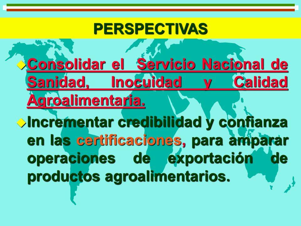 PERSPECTIVAS Consolidar el Servicio Nacional de Sanidad, Inocuidad y Calidad Agroalimentaria.