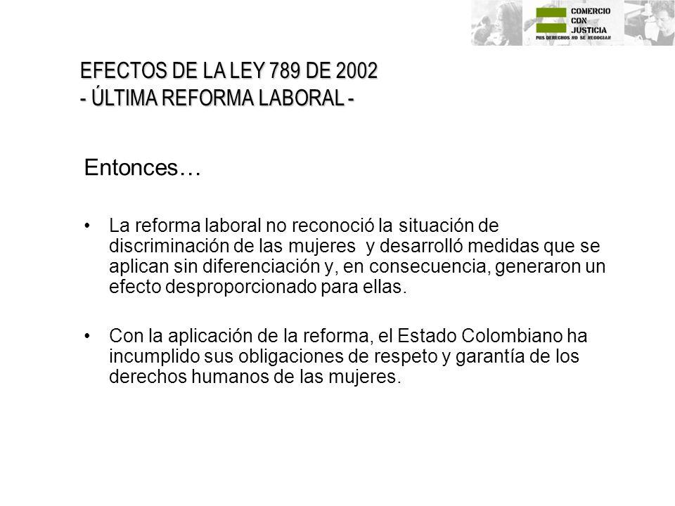 Entonces… EFECTOS DE LA LEY 789 DE 2002 - ÚLTIMA REFORMA LABORAL -