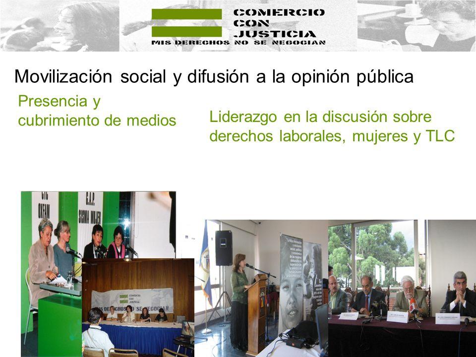 Movilización social y difusión a la opinión pública