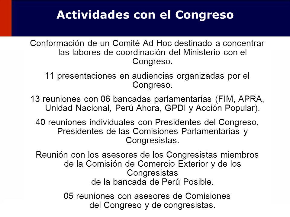 Actividades con el Congreso