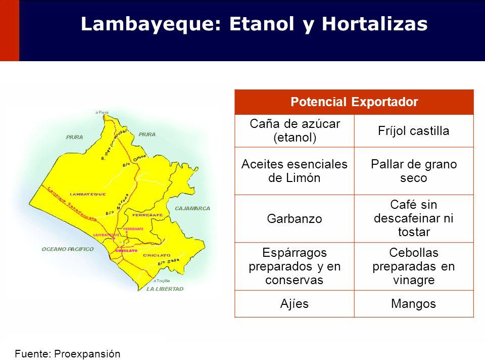 Lambayeque: Etanol y Hortalizas