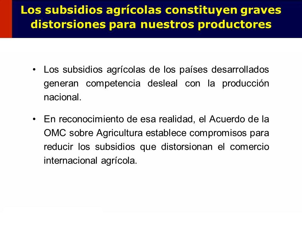 Los subsidios agrícolas constituyen graves distorsiones para nuestros productores