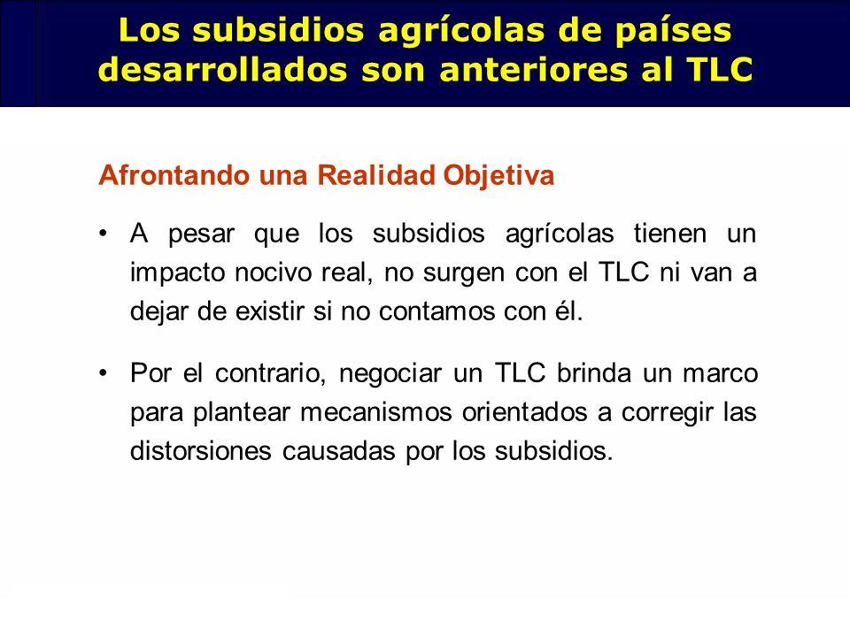 Los subsidios agrícolas de países desarrollados son anteriores al TLC