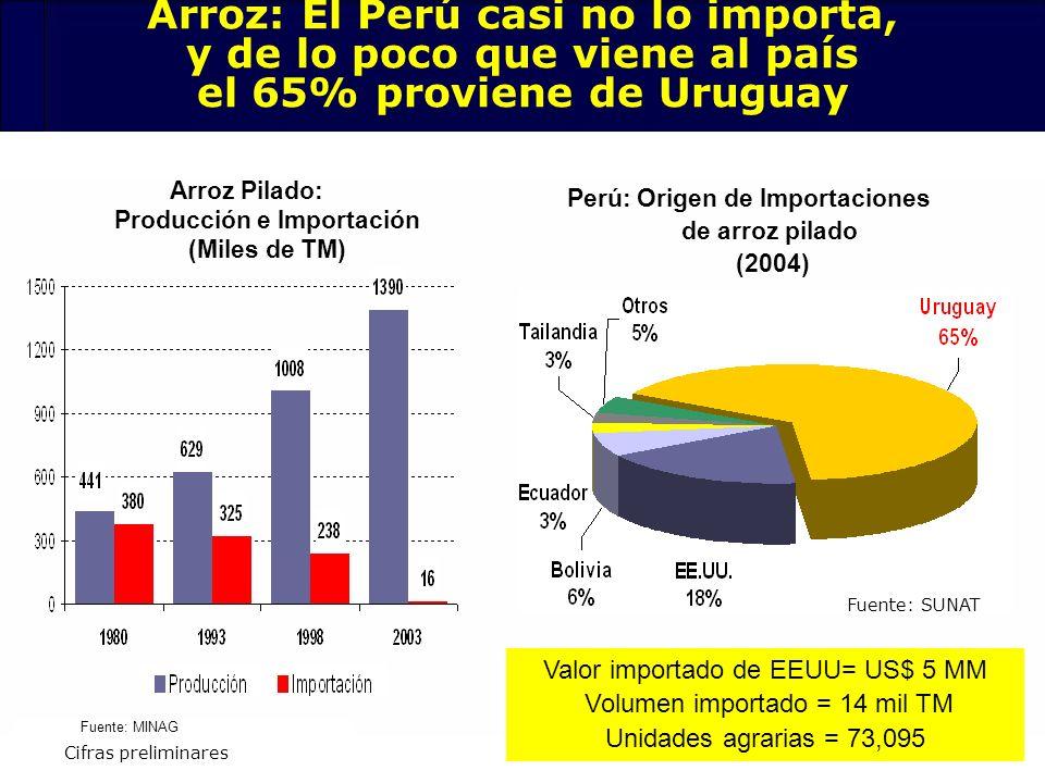 Arroz: El Perú casi no lo importa, y de lo poco que viene al país el 65% proviene de Uruguay