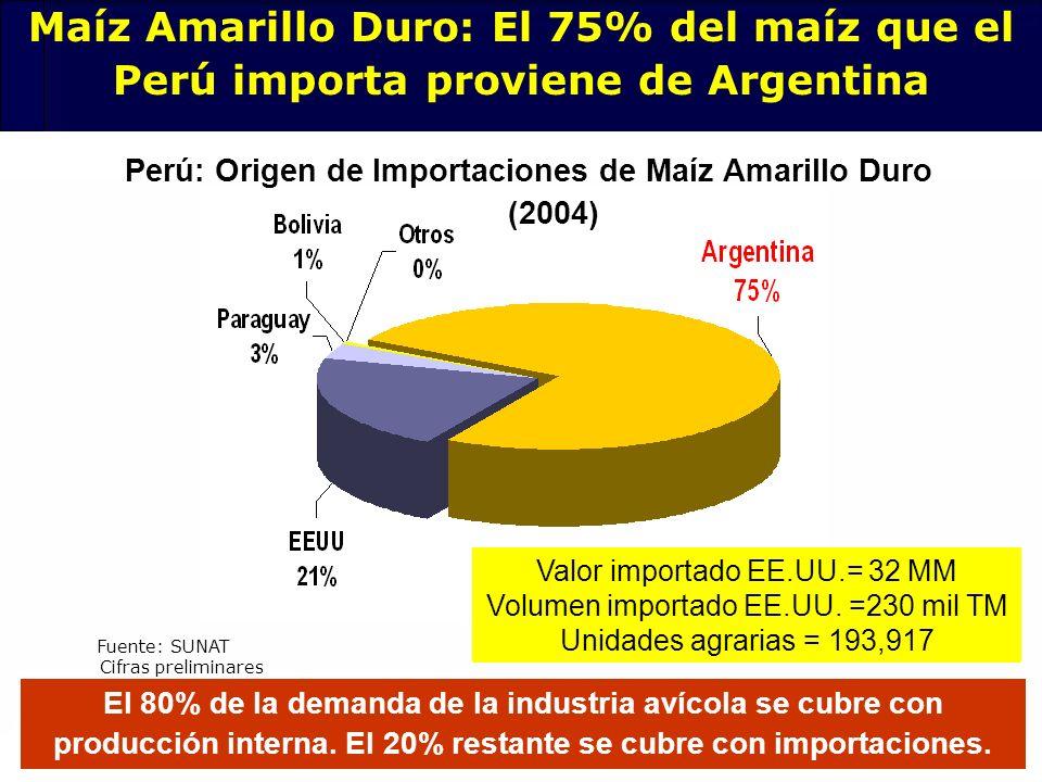 Perú: Origen de Importaciones de Maíz Amarillo Duro (2004)