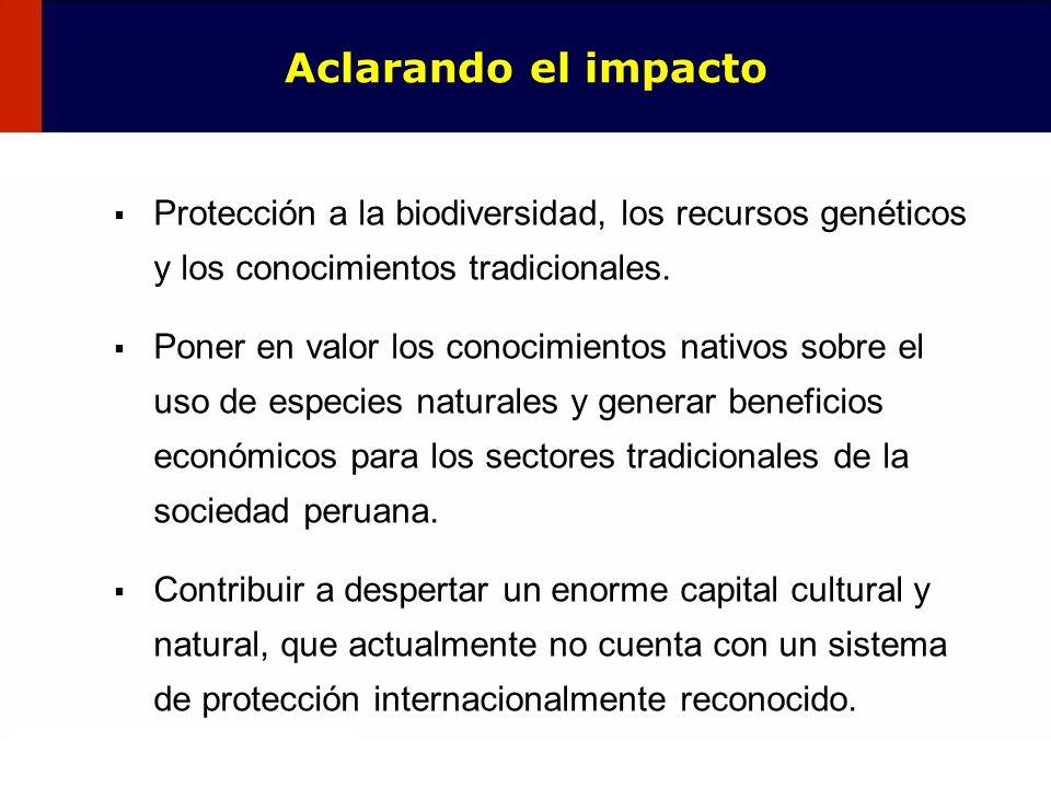 Aclarando el impacto Protección a la biodiversidad, los recursos genéticos y los conocimientos tradicionales.