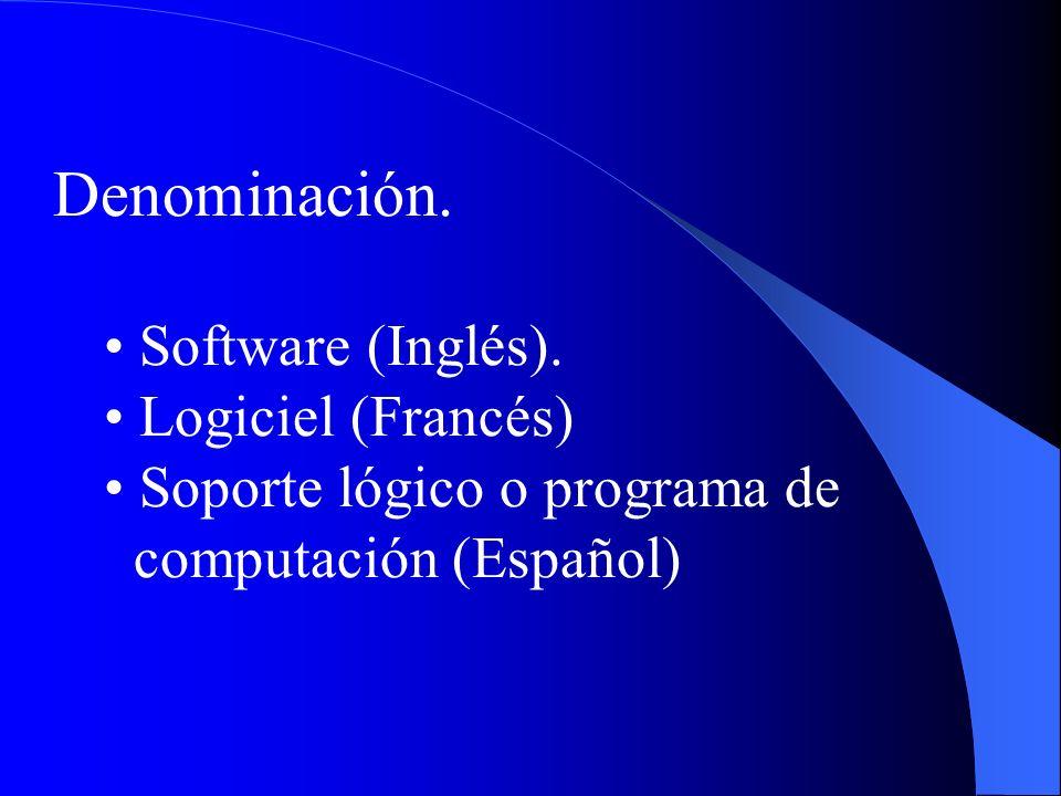 Denominación. Software (Inglés). Logiciel (Francés)