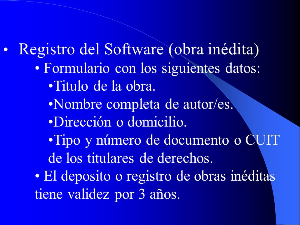 Registro del Software (obra inédita)
