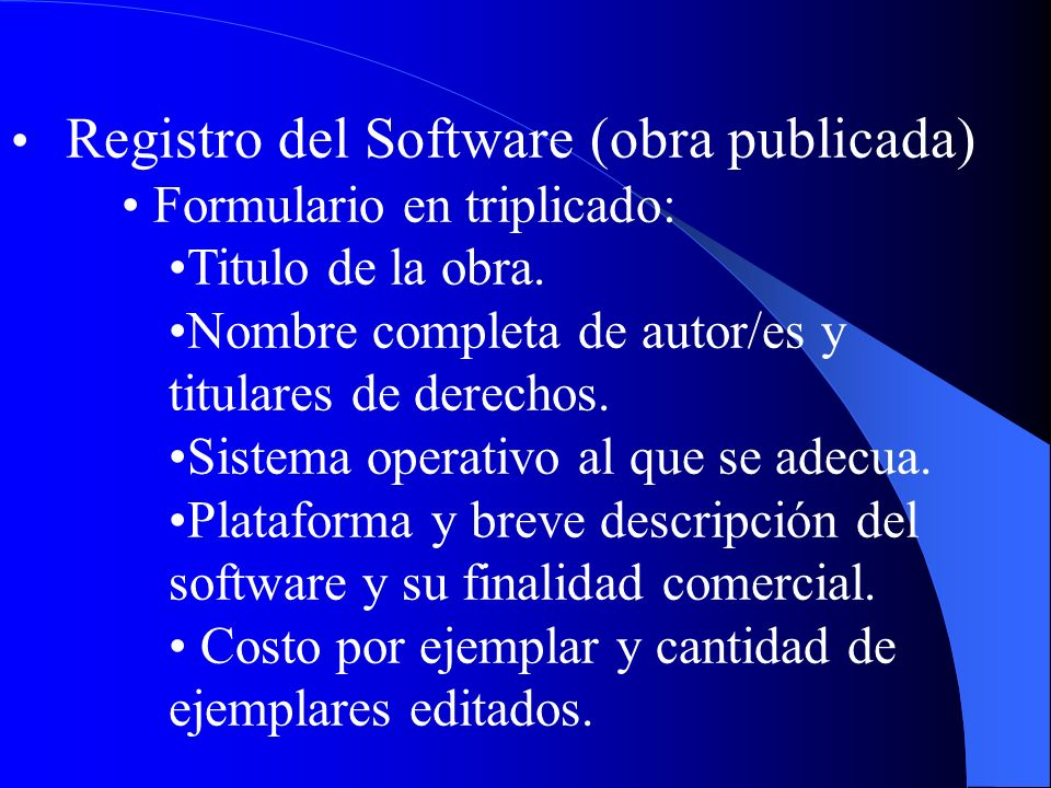 Registro del Software (obra publicada)