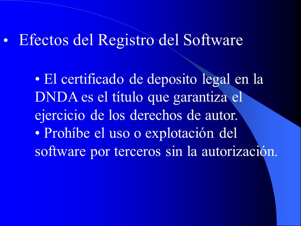 Efectos del Registro del Software