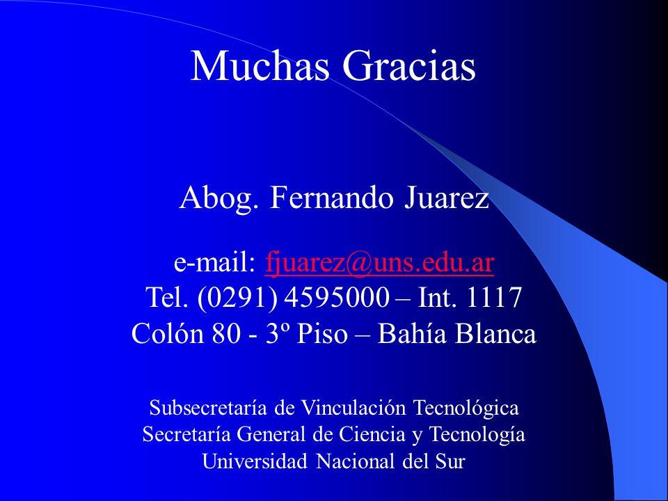 Muchas Gracias Abog. Fernando Juarez e-mail: fjuarez@uns.edu.ar