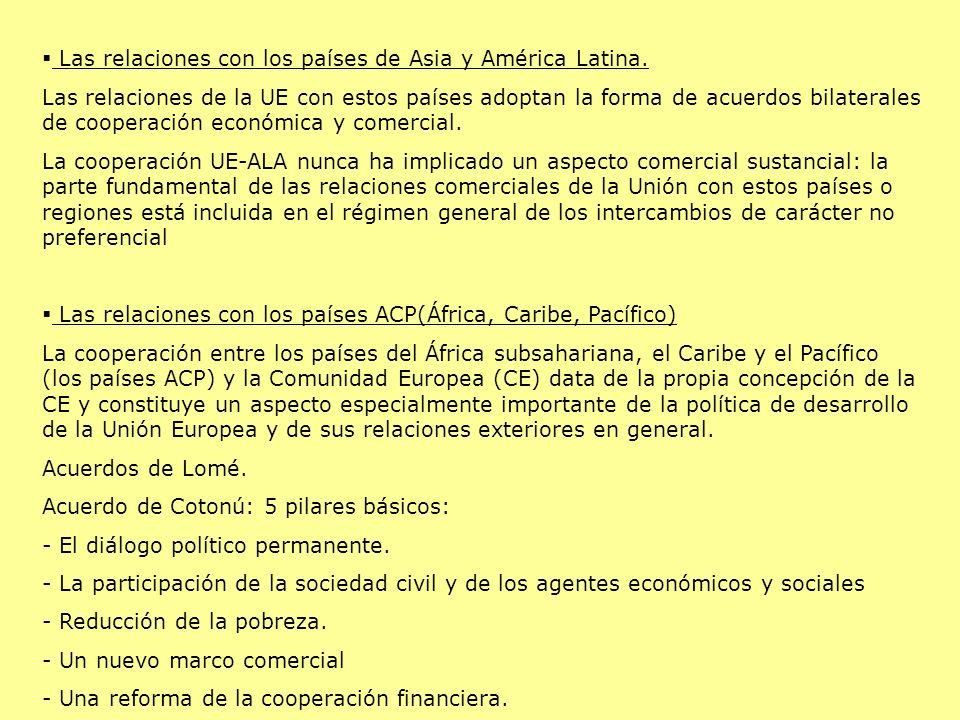 Las relaciones con los países de Asia y América Latina.
