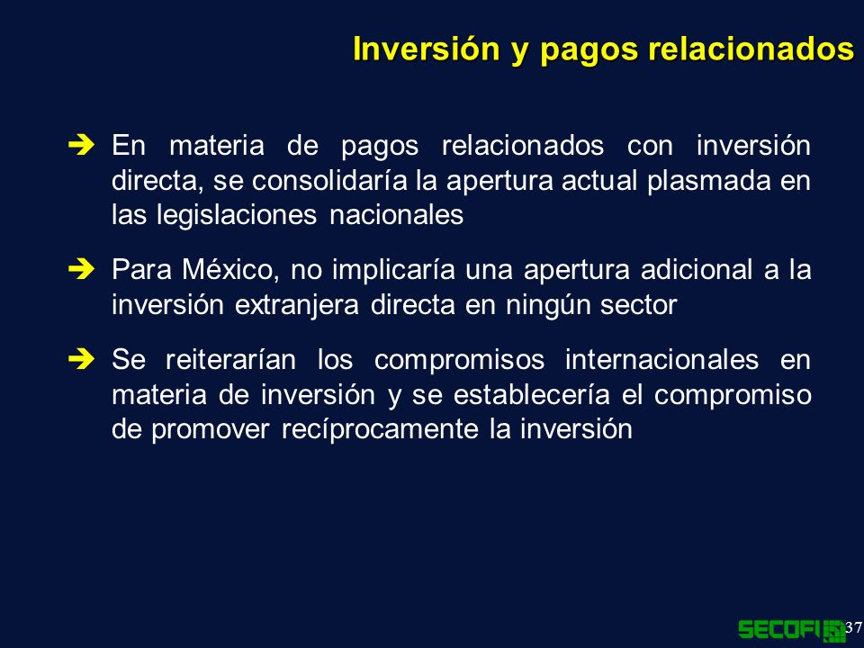 Inversión y pagos relacionados
