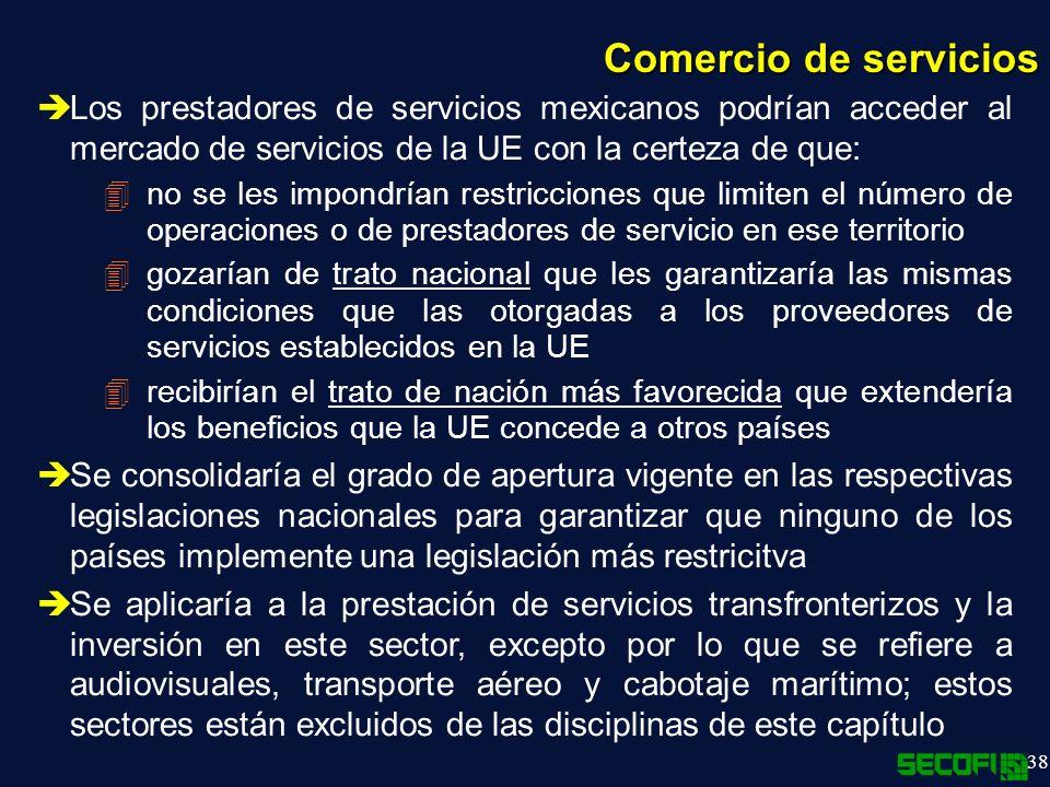 Comercio de servicios Los prestadores de servicios mexicanos podrían acceder al mercado de servicios de la UE con la certeza de que: