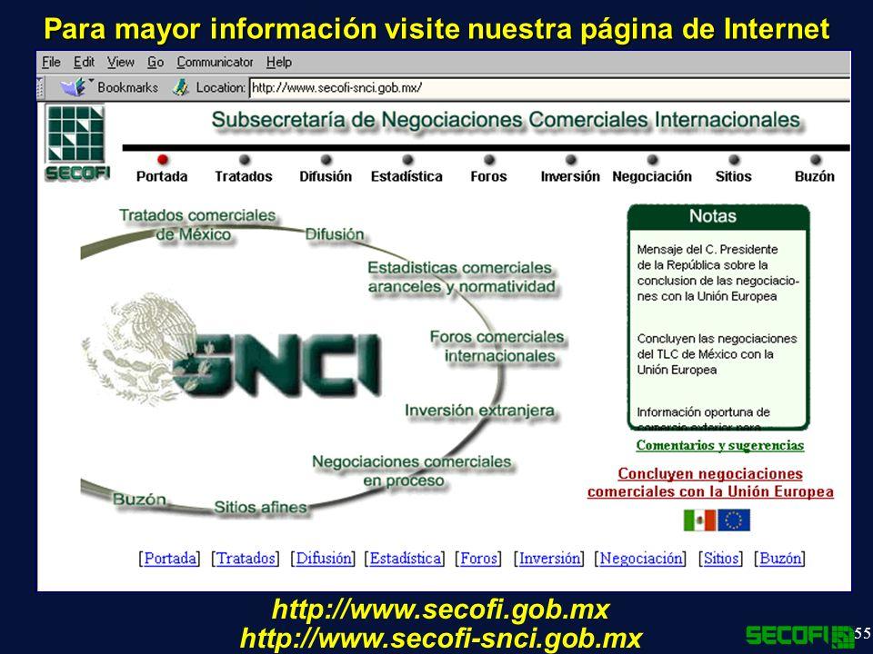 Para mayor información visite nuestra página de Internet