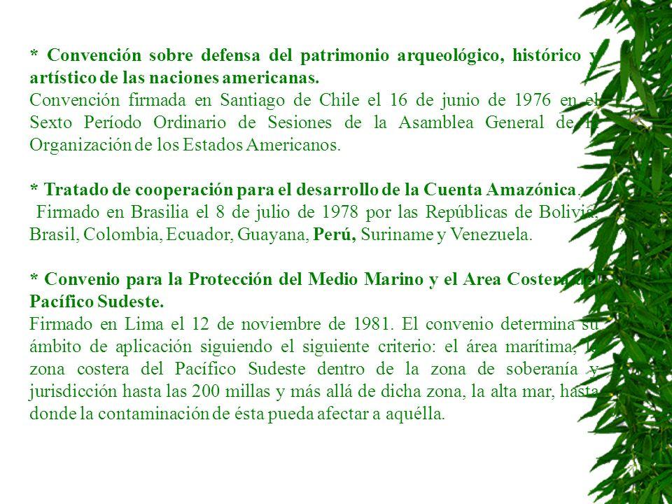 * Convención sobre defensa del patrimonio arqueológico, histórico y artístico de las naciones americanas.