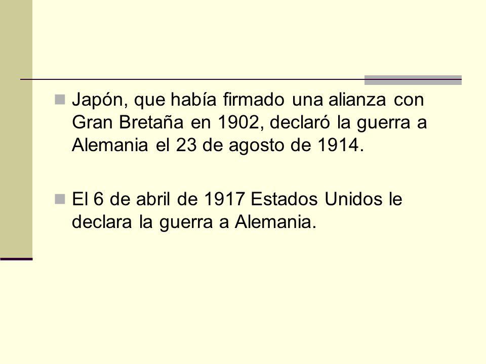 Japón, que había firmado una alianza con Gran Bretaña en 1902, declaró la guerra a Alemania el 23 de agosto de 1914.