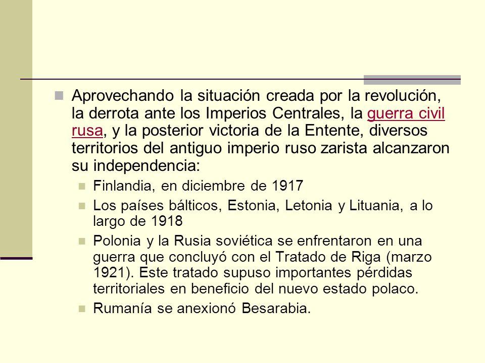 Aprovechando la situación creada por la revolución, la derrota ante los Imperios Centrales, la guerra civil rusa, y la posterior victoria de la Entente, diversos territorios del antiguo imperio ruso zarista alcanzaron su independencia: